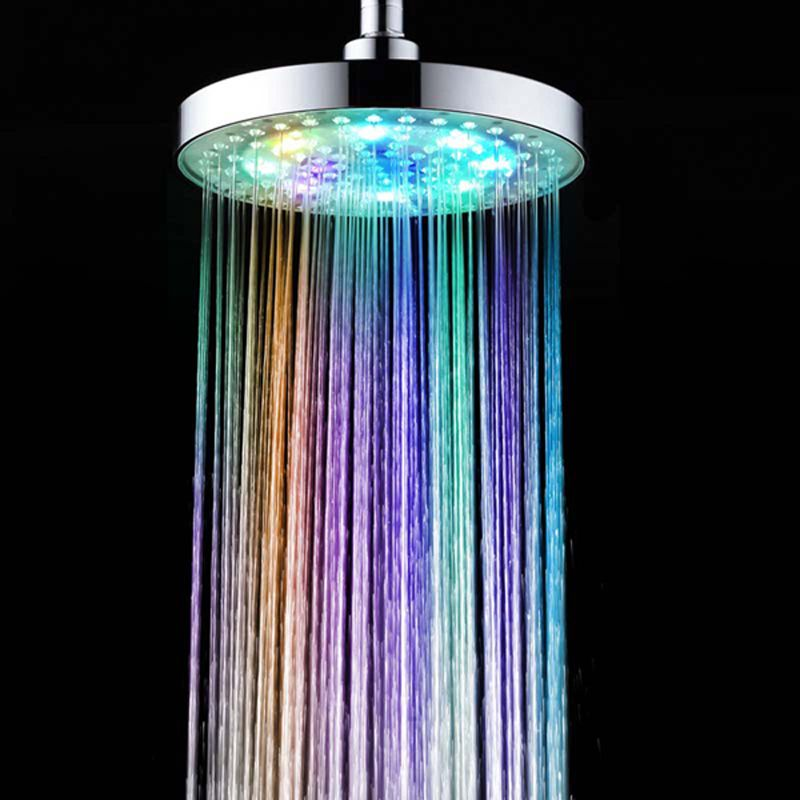 LED Shower Head 7 Colors Temperature Controlled Rainfall Top Spray Shower Head