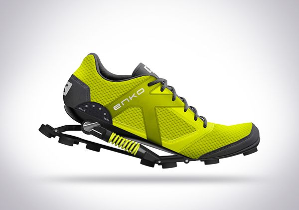 Enko - Running Shoes with built-in shock absorbers that help to conserve  energy stored