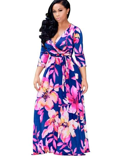 7db40356543 V Neck Plus Size Printing Women s Maxi Dress