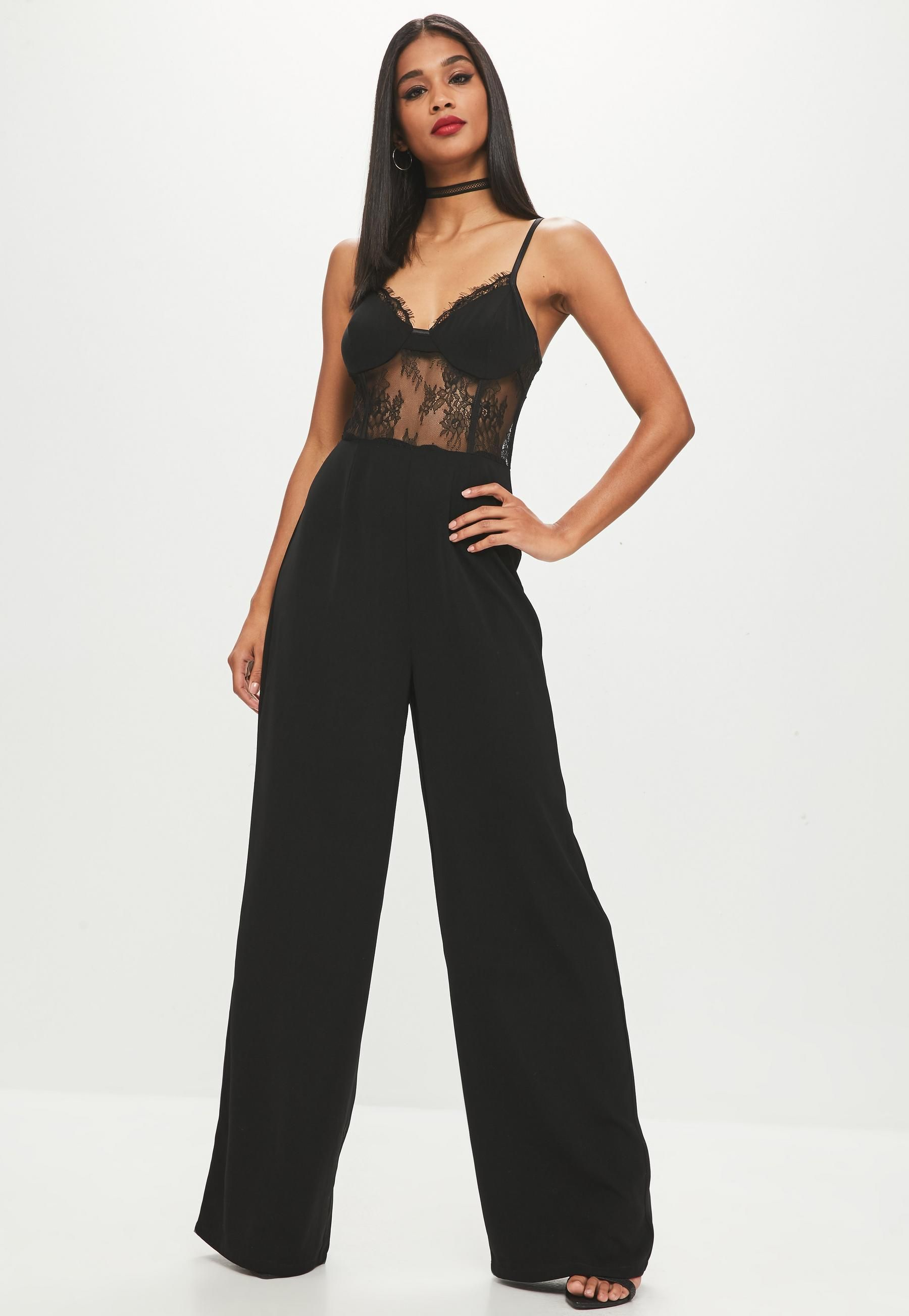 27aeeb90e8c0 Black Lace Corset Wide Leg Jumpsuit | Fashion | Jumpsuit, Lace ...