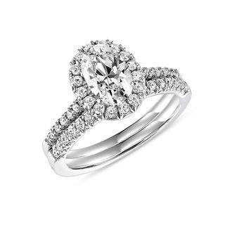 3 4 Ct T W Oval Diamond Frame Bridal Set In 14k White Gold Zales Engagement Rings Bridal Sets 14k White Gold Engagement Rings Bridal Engagement Rings