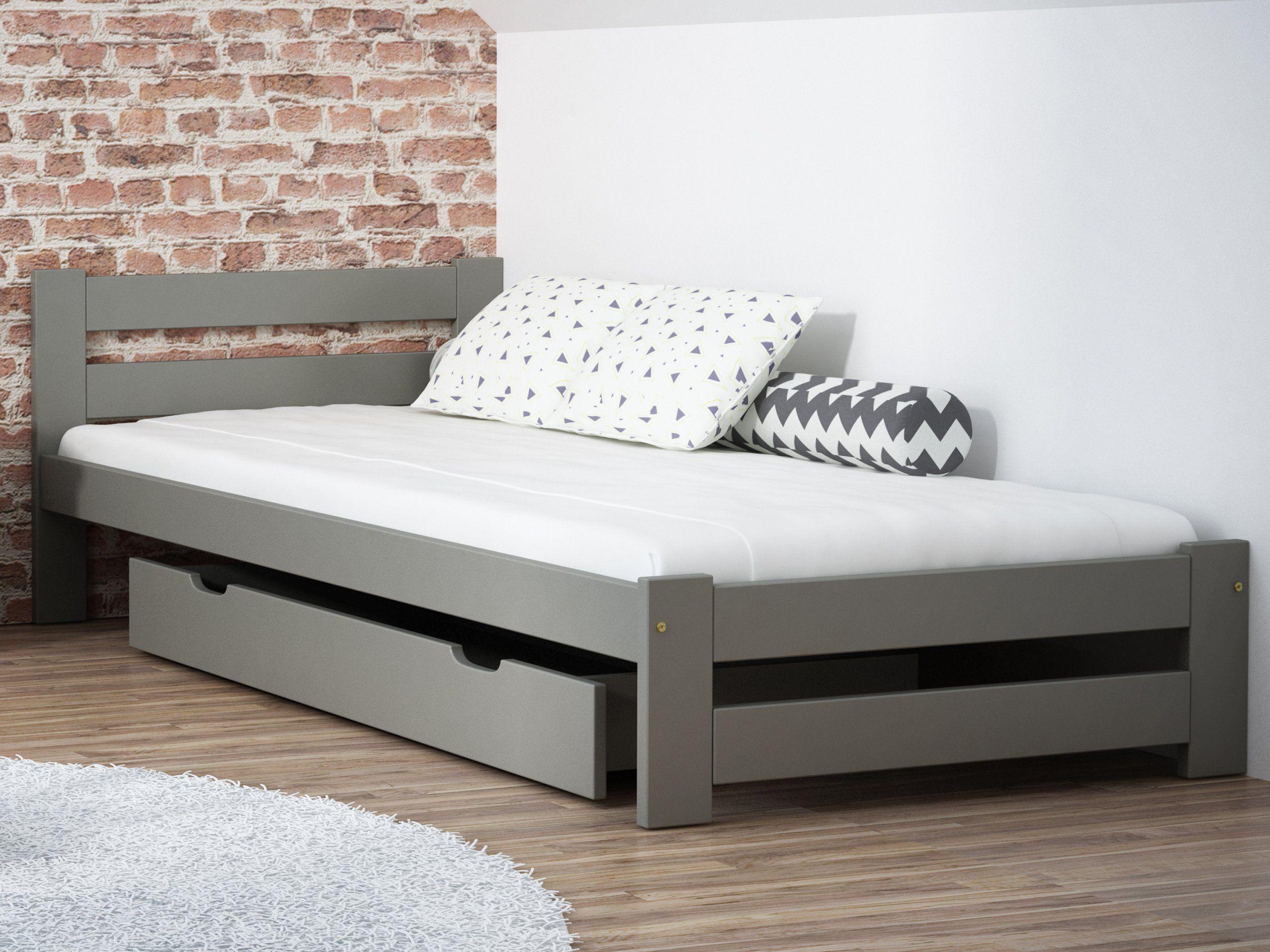 Lozko Szare Kada 90x200 Stelaz Materac Pianka Furniture Storage Bench Home Decor