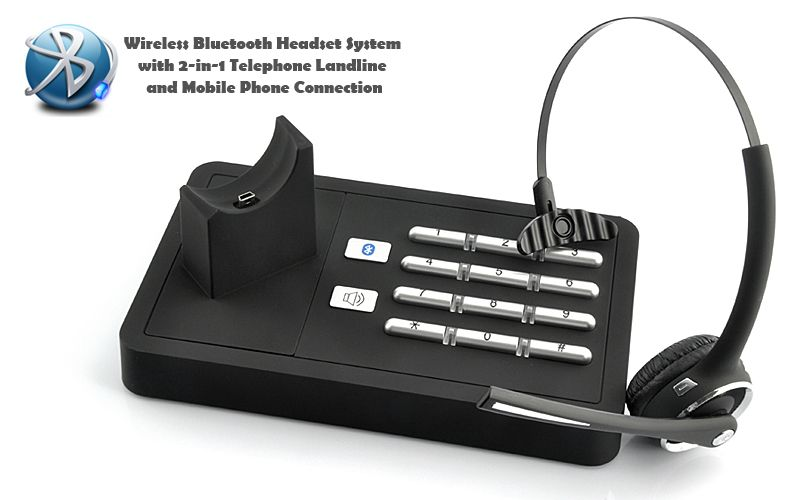 Handsfree Wireless Bluetooth Headset System 2 In 1 Telephone Landline And Mobile Phone Connection Eep Your Busy Life Organized With This Wireless Blu