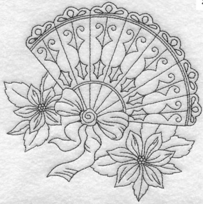 Fan embroidery - could be used all year round if the poinsettia were changed to another flower.