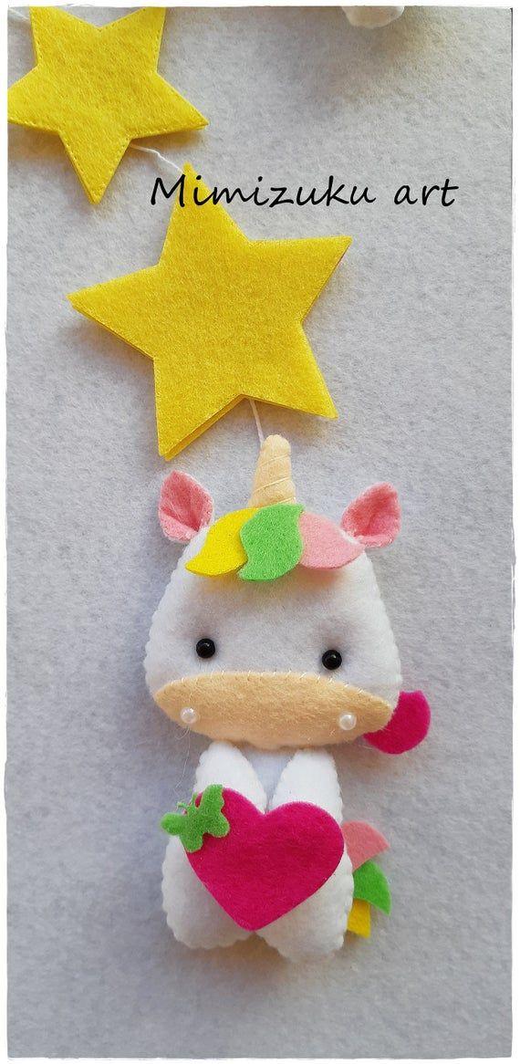 Unicorn felt Mobile Unicorn Baby Mobile Unicorn Nursery   Etsy
