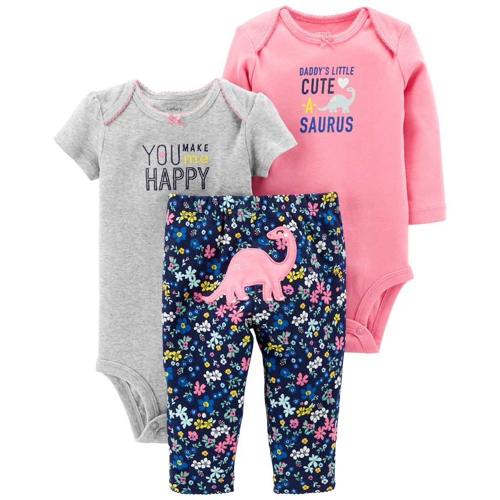 b373a8c59a66 Carter s Baby Girl 3-piece. Dinosaur Bodysuit   Pants Set