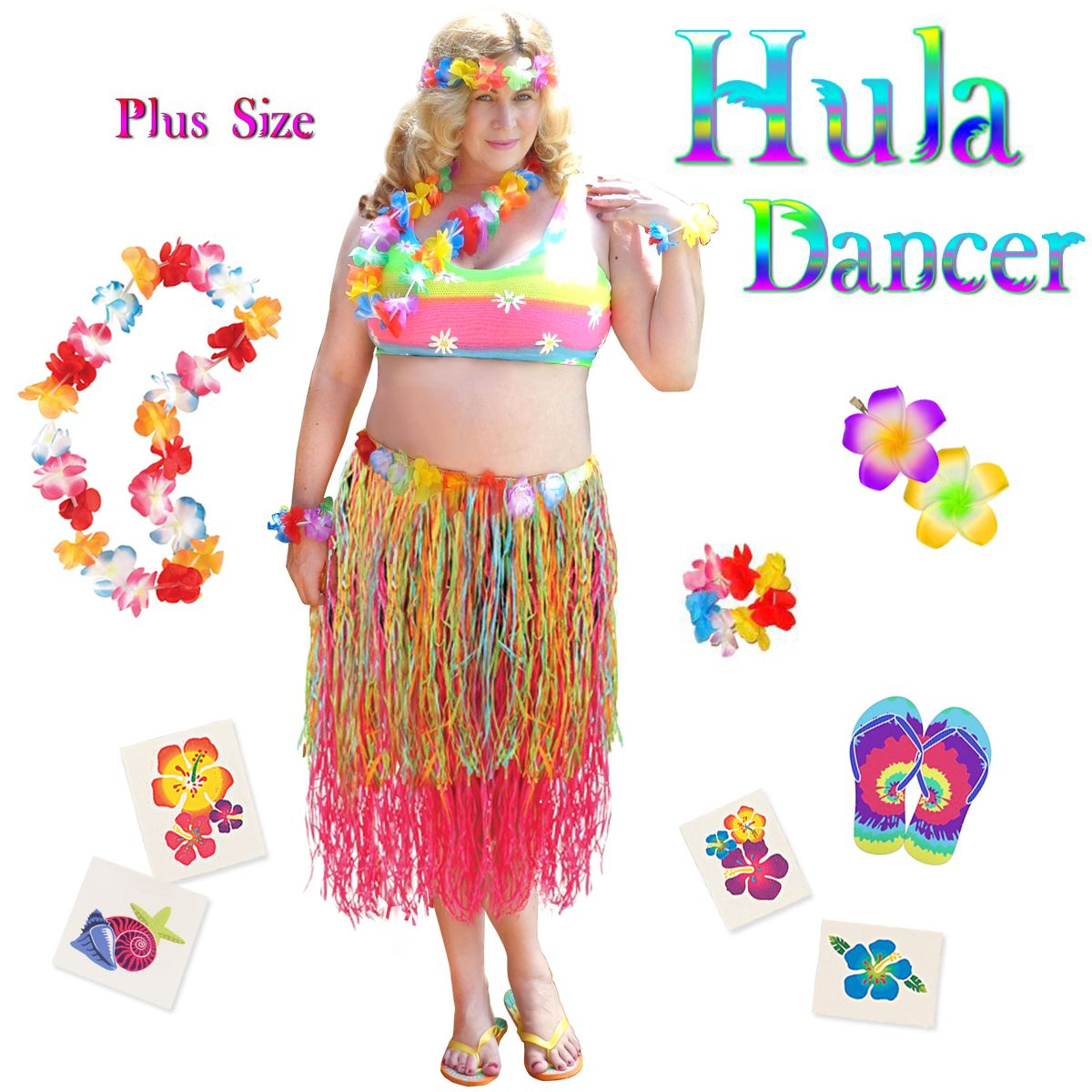 bffabae15a14d Pink   Multicolored Paper Hula Dancer Skirt Deluxe Costume Set Plus Size    Supersize Halloween Costume and Accessory Kit! Sizes Lg XL 1x 2x 3x 4x 5x  6x 7x ...