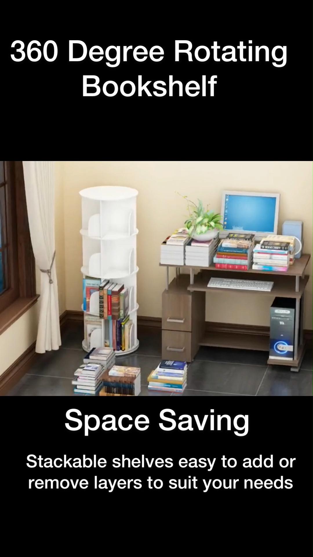 360° Rotating Stackable Shelves Bookshelf Organizer