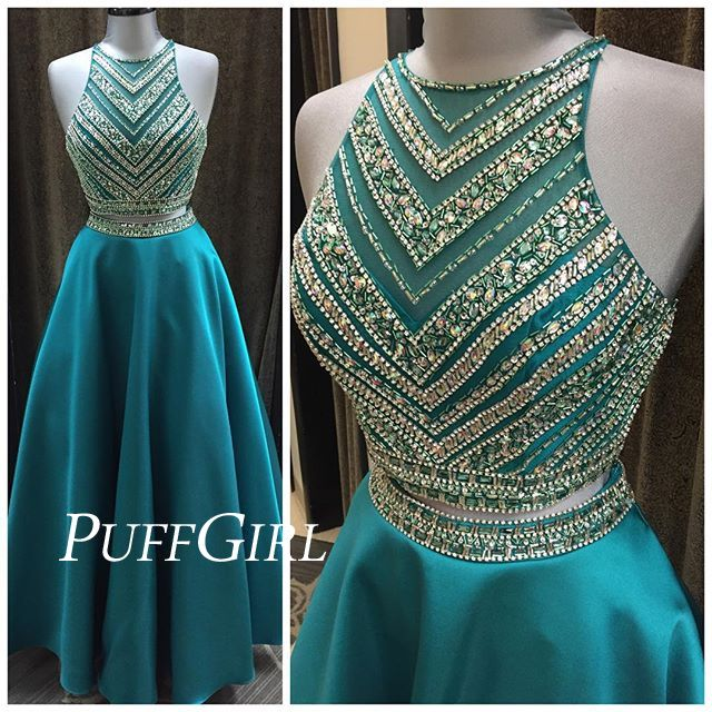bae11f8359e4 Teal Satin Sleeveless Two Piece Prom Dress With Beaded Crop Top from ...