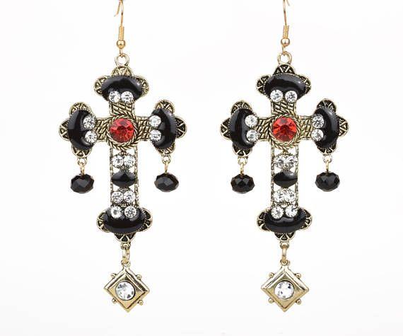 Large Gold Baroque Cross Earrings Byzantine Statement Dangle Ornate Renaissance Crucifix Italian Rococo