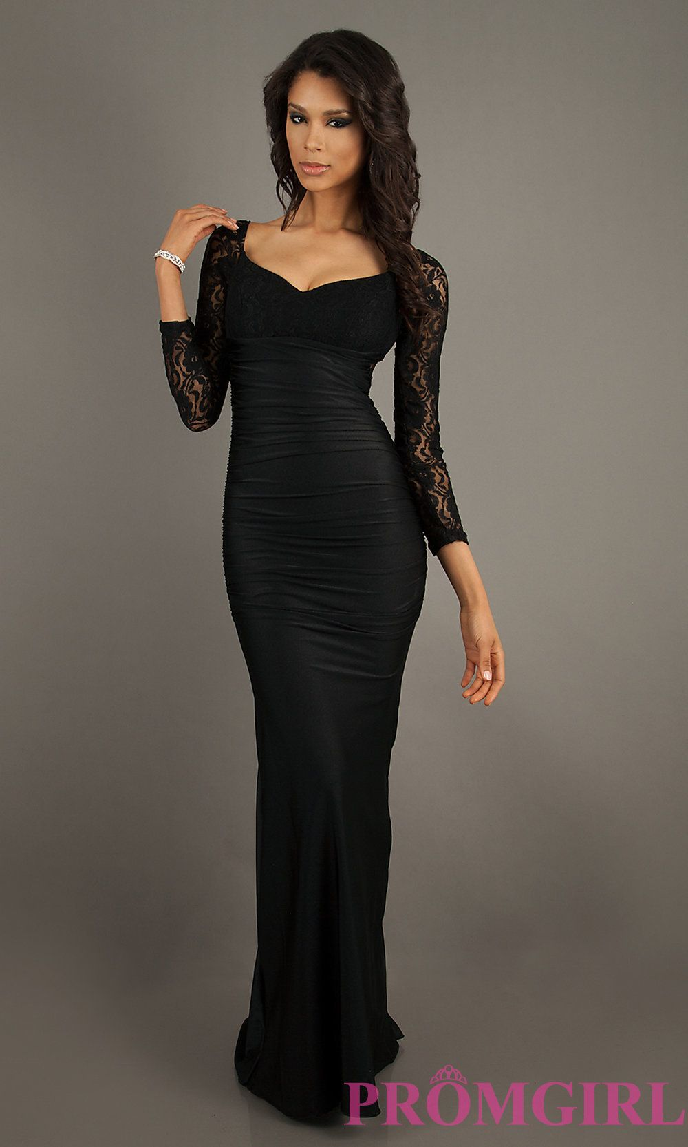 Long sleeved sheer lace gown by atria at dress
