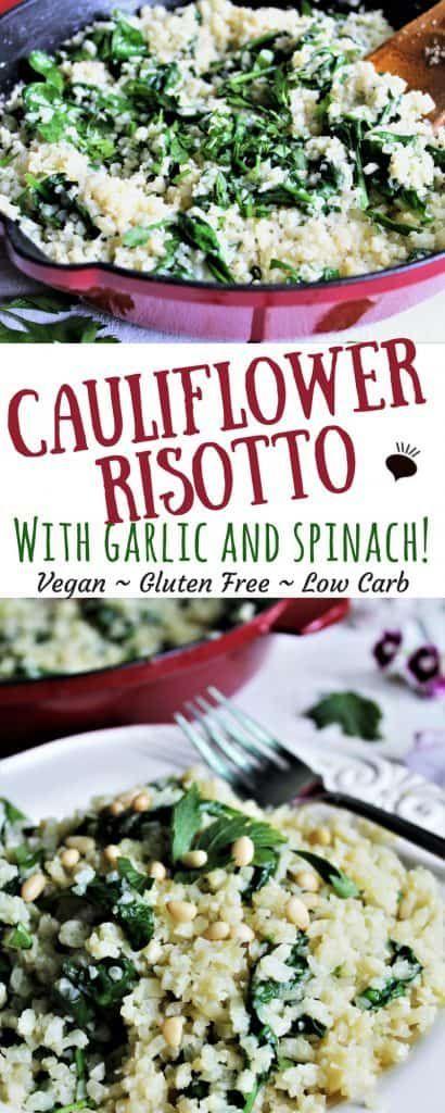 Vegan Cauliflower Risotto with Spinach - The Hidden Veggies