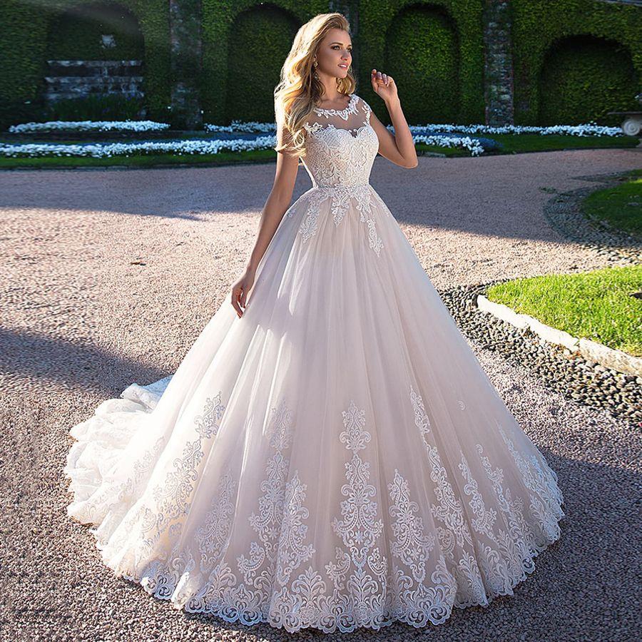 Robe De Mariage Long Mermaid Wedding Dress 2018 Cap Sleeve Sccop Lustrous Satin Brida Long Train Wedding Dress Wedding Dresses Vintage Princess Wedding Dresses [ 900 x 900 Pixel ]