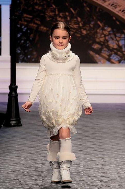 Miss Blumarine girls cream puff party dress for winter 2011