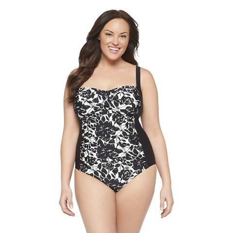 target - women's plus size one piece swimsuit black/white-ava