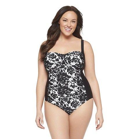 0eaec0379a5 Target - Women s Plus Size One Piece Swimsuit Black White-Ava   Viv -  39.99