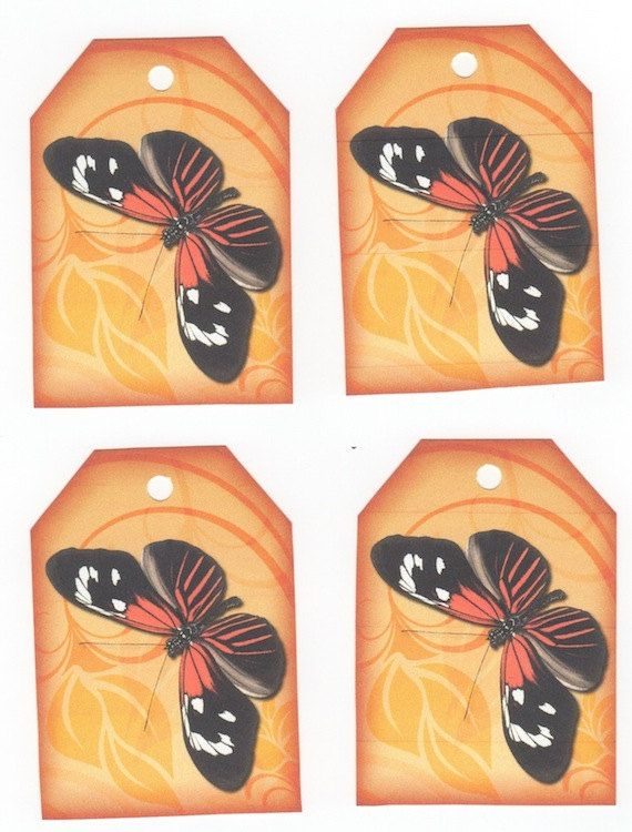 9 Bright Monarch Butterfly Gift Tags by NanaLetha on Etsy, $2.50