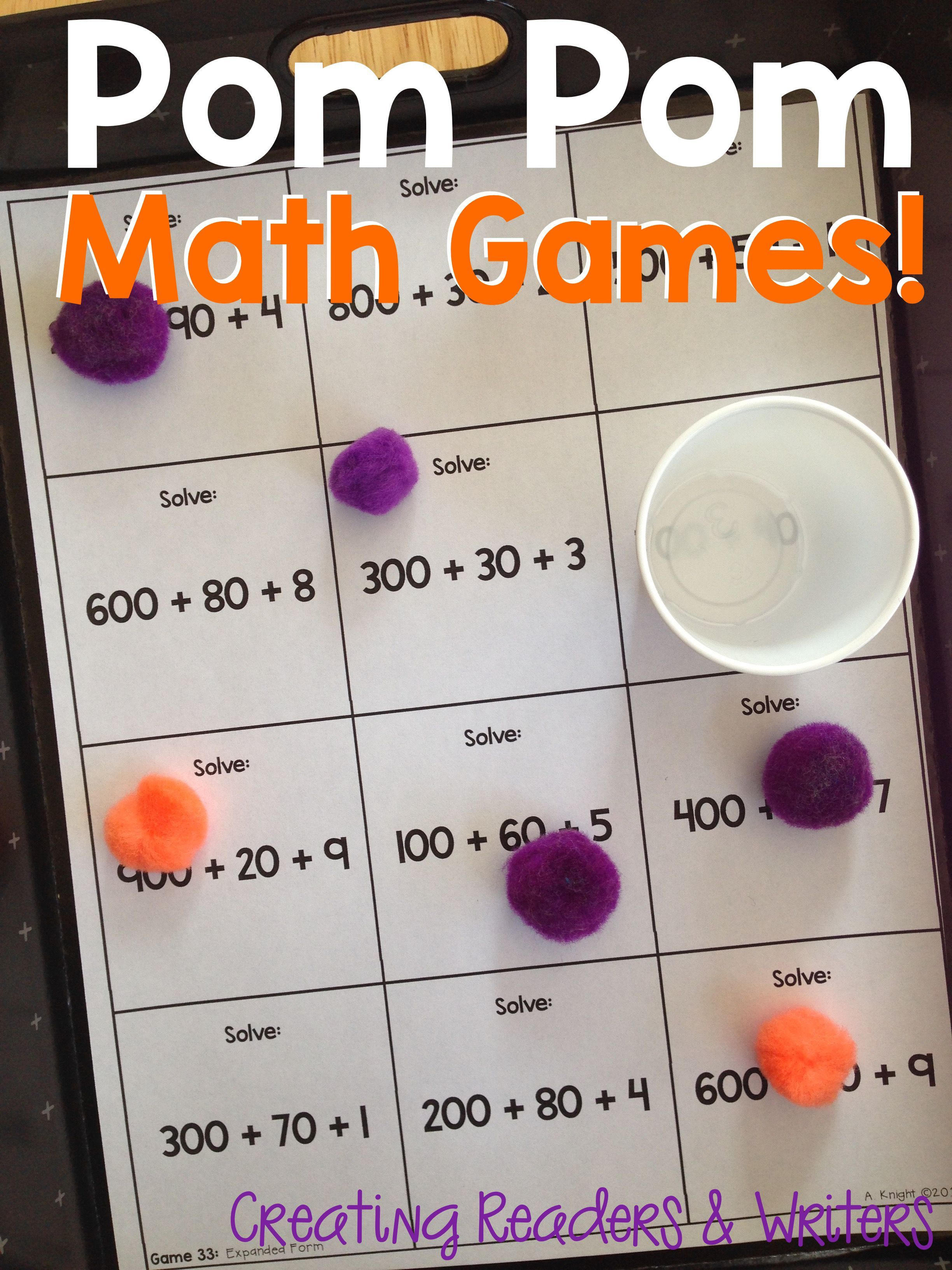 Pom Pom Math Games For Partners Math Centers Grade 2 Tips To