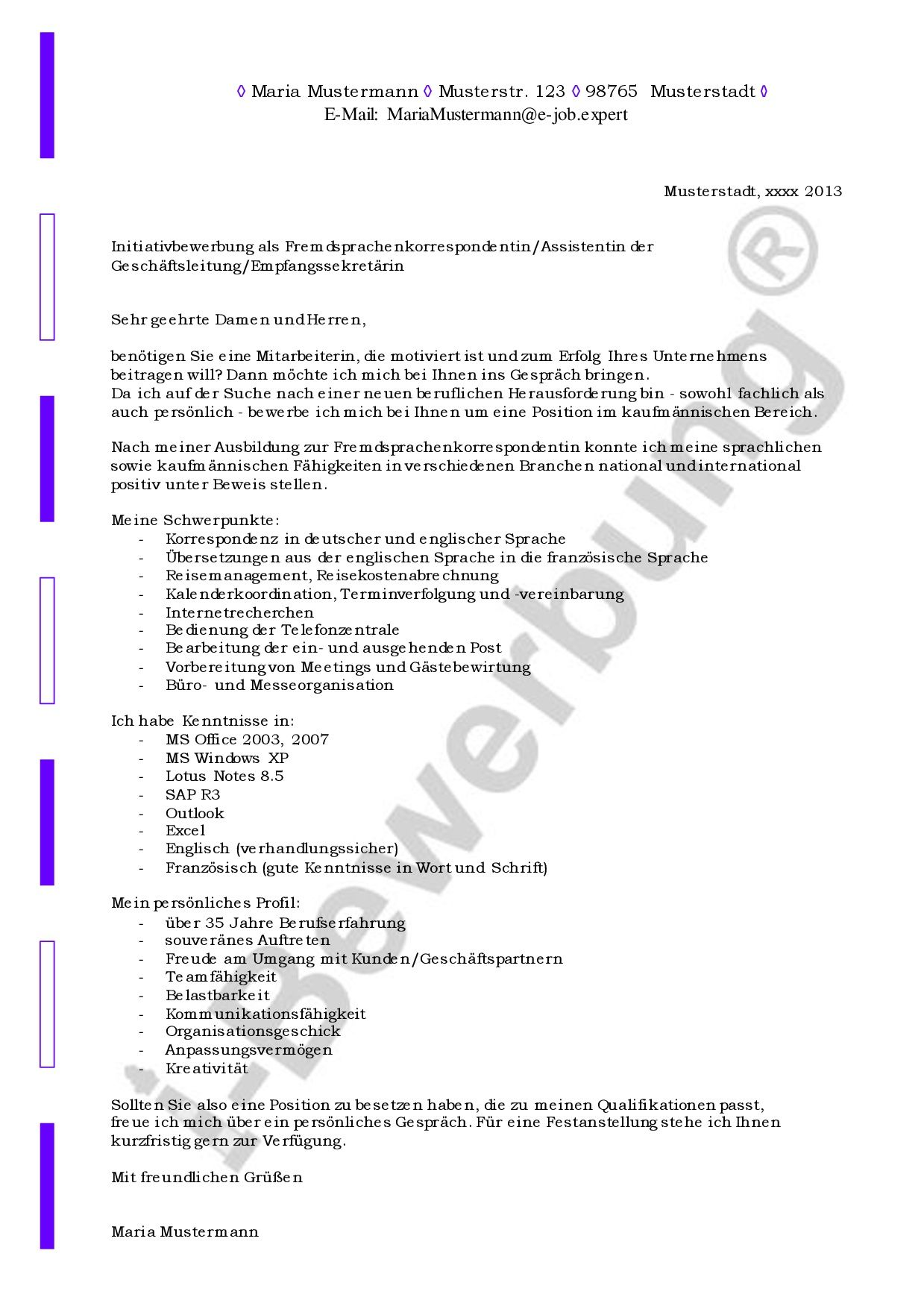 musteranschreiben zur i bewerbung als empfangssekretrin - Welche Schriftgrose Bei Bewerbungen