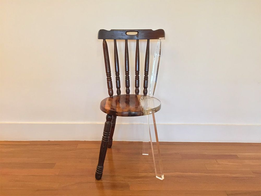 My New Old Chair Artist Fixes Broken Wood Furniture With Opposing Materials Old Chair Chair Acrylic Furniture