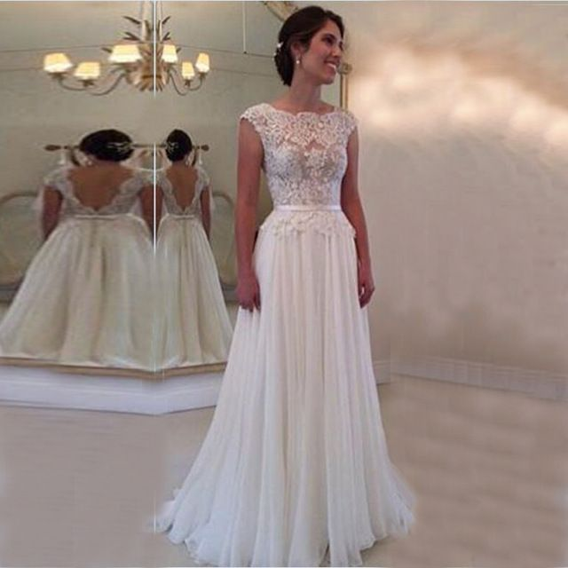 fc648832c Vestidos de noivas do vintage 2015 Simples Barato Vestidos de Casamento  Backless Elegante Do Laço Do Vestido de Casamento Da Praia vestido de  casamento