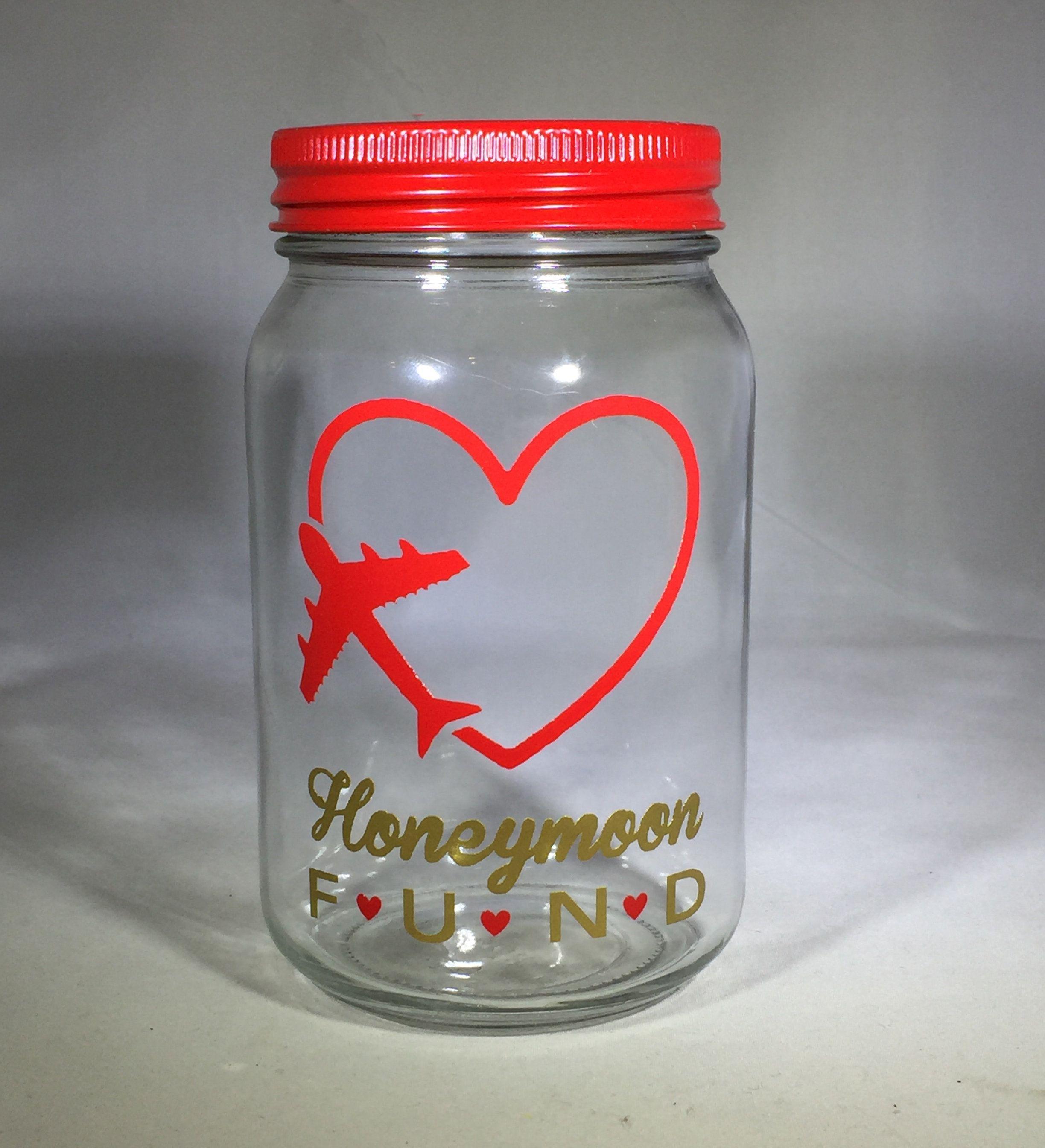 Personalized Mason Jar Honeymoon Bank Honeymoon Fund Bank Money Jar Mason Jar Fund Glass Coin Bank Personalized Mason Jars Mason Jar Bank Money Jars