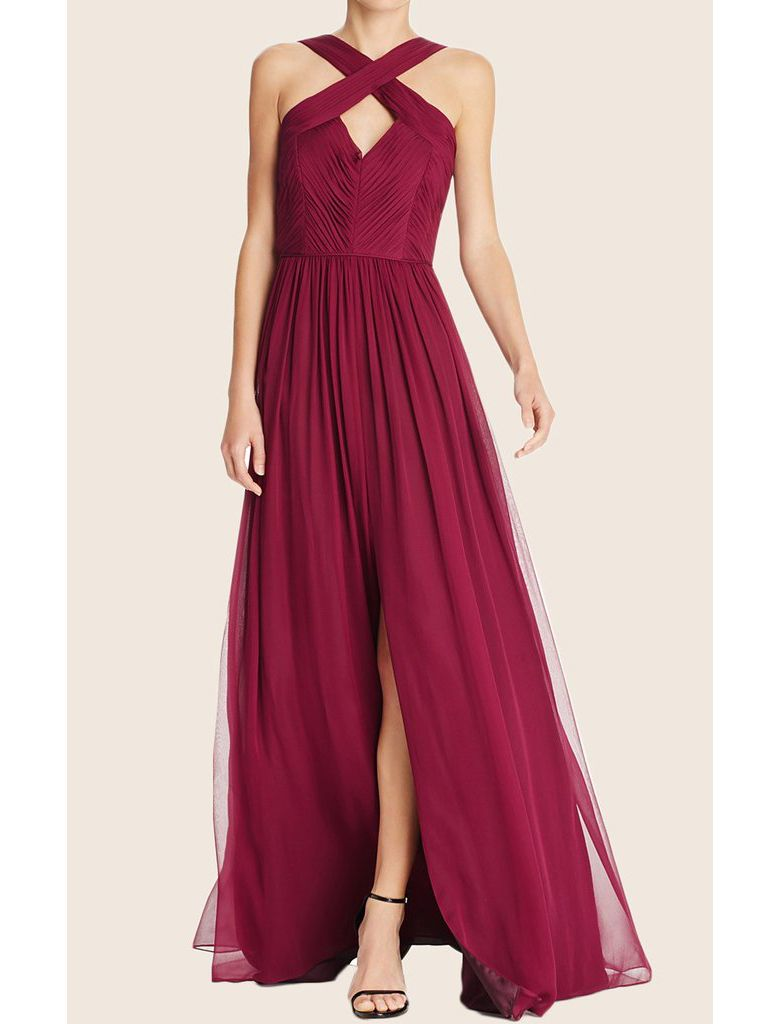 Special aline burgundy long bridesmaid dress with slit wedding