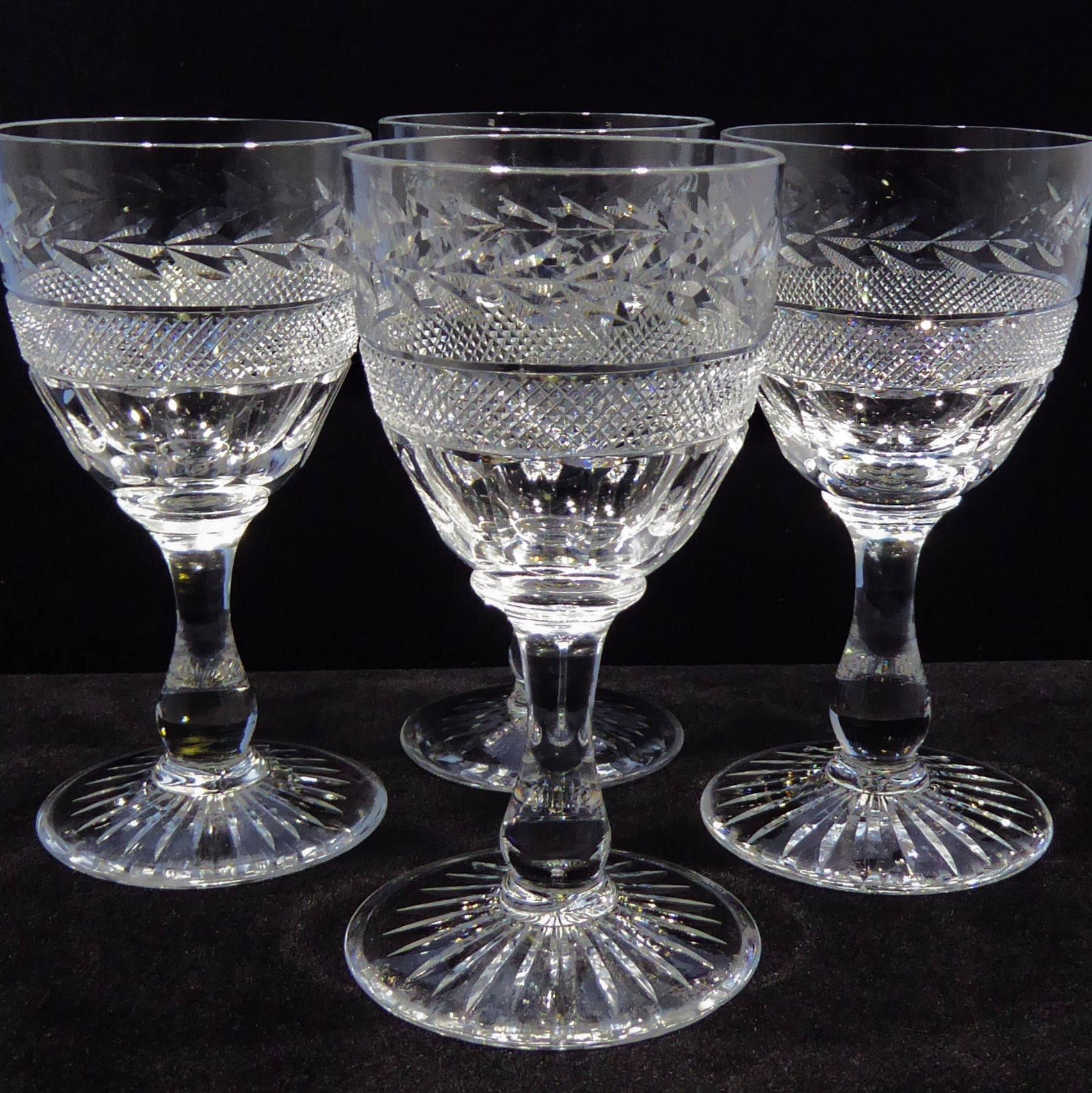 Bohemian/czech Princess Collection Lead Crystal 4 Goblets Wine Glass Hand Cut Austrian At Any Cost Glass