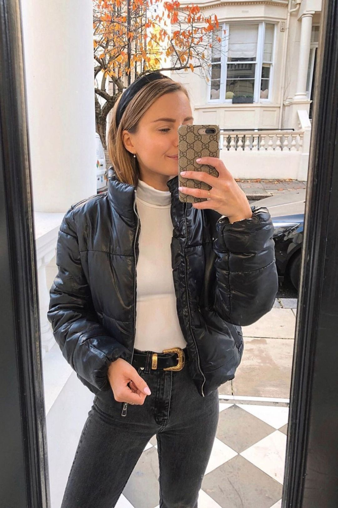 Women S Winter Wear Skinny Jeans Black Jacket Mirror Selfie Cool Stylish Going Out Outfit In Cropped Puffer Jacket Winter Jacket Outfits Winter Fashion Outfits [ 1620 x 1080 Pixel ]