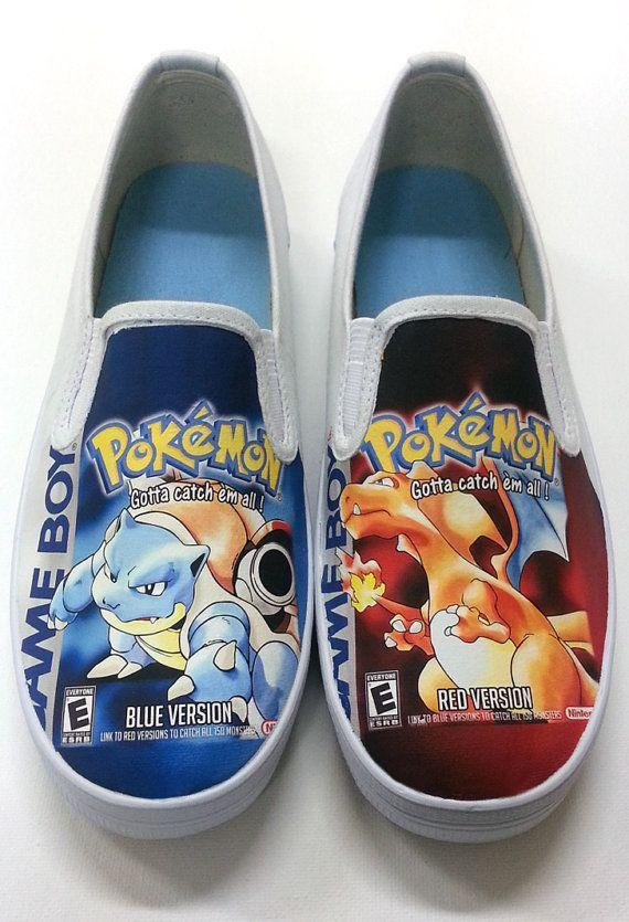 1f745ff3cb42d Custom Pokemon Box Art Canvas Shoes by SuperBitKicks on Etsy | Buy ...