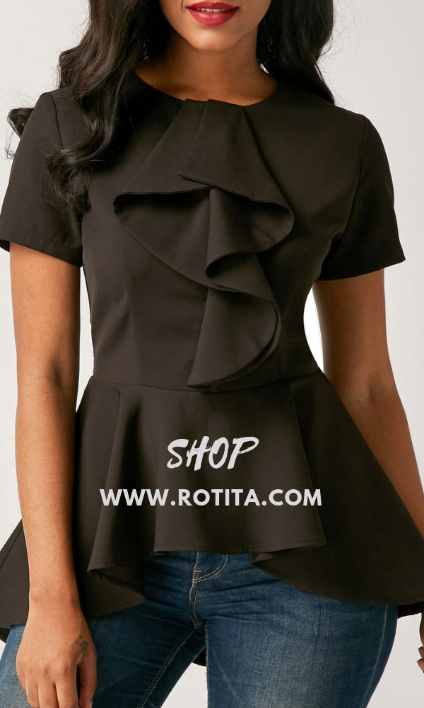 06991263f6d Short Sleeve Asymmetric Hem Black Flouncing Blouse.Special design black  blouse for you. rotita