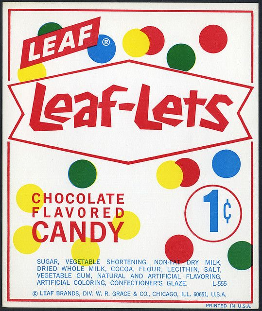 Candy Machine Vending Insert Card - Leaf Leaf-Lets chocolate flavored candy 1-cent - 1960's 1970's