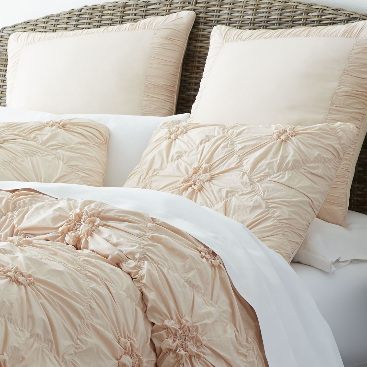 Turtles And Tails Master Bedroom Before And After: Savannah Bedding & Duvet - Blush