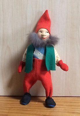 Early Ronnaug Petterssen Elf Doll Nisse - Norwegian Artist Doll - Felt Cloth Fur