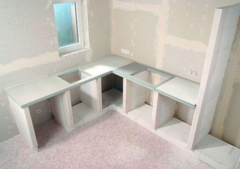 Kuchenbau Aus Porenbeton Kuche Kitchen Remodel Kitchen Cabinets