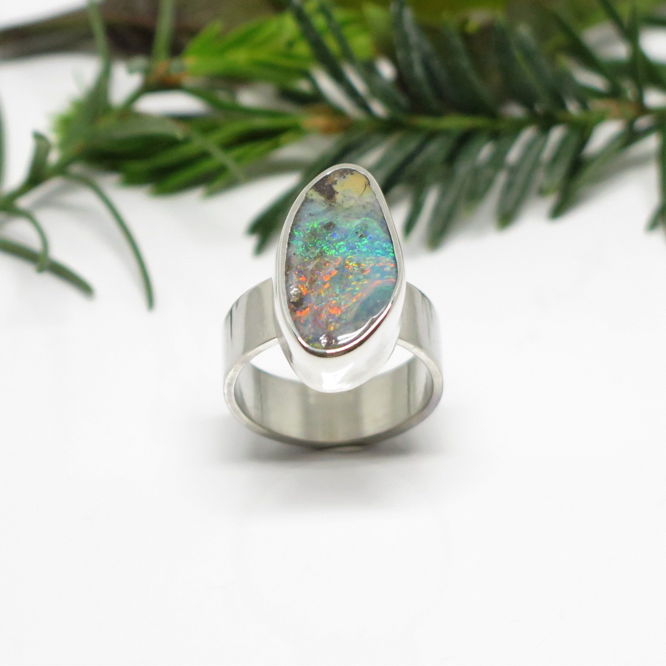 Sterling Silver Australian Boulder Opal Ring Wide Band Opal Ring Promise Large Opal Ring Colorful Australian Opal Ring Eco Friendly In 2020 Australian Boulder Opal Ring Boulder Opal Ring Australian Opal Ring