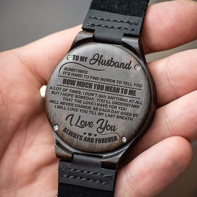 Great Gift For Husband Engraving Wooden Watch by HeavenKP, $60.29 USD
