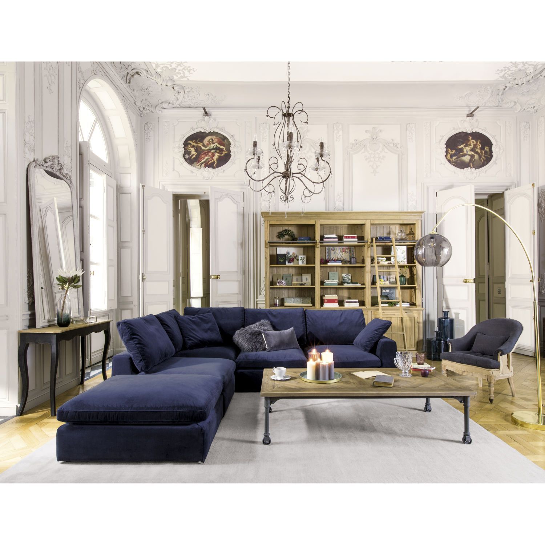 Midnight Blue Velvet Modular Corner Sofa | A 123 High Street ...