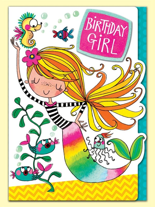 Mermaid Birthday Girl Greeting Card By Rachel Ellen Designs