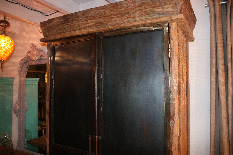 Kast Hout Staal : Drift hout kast met stalen deuren industrie meubelen