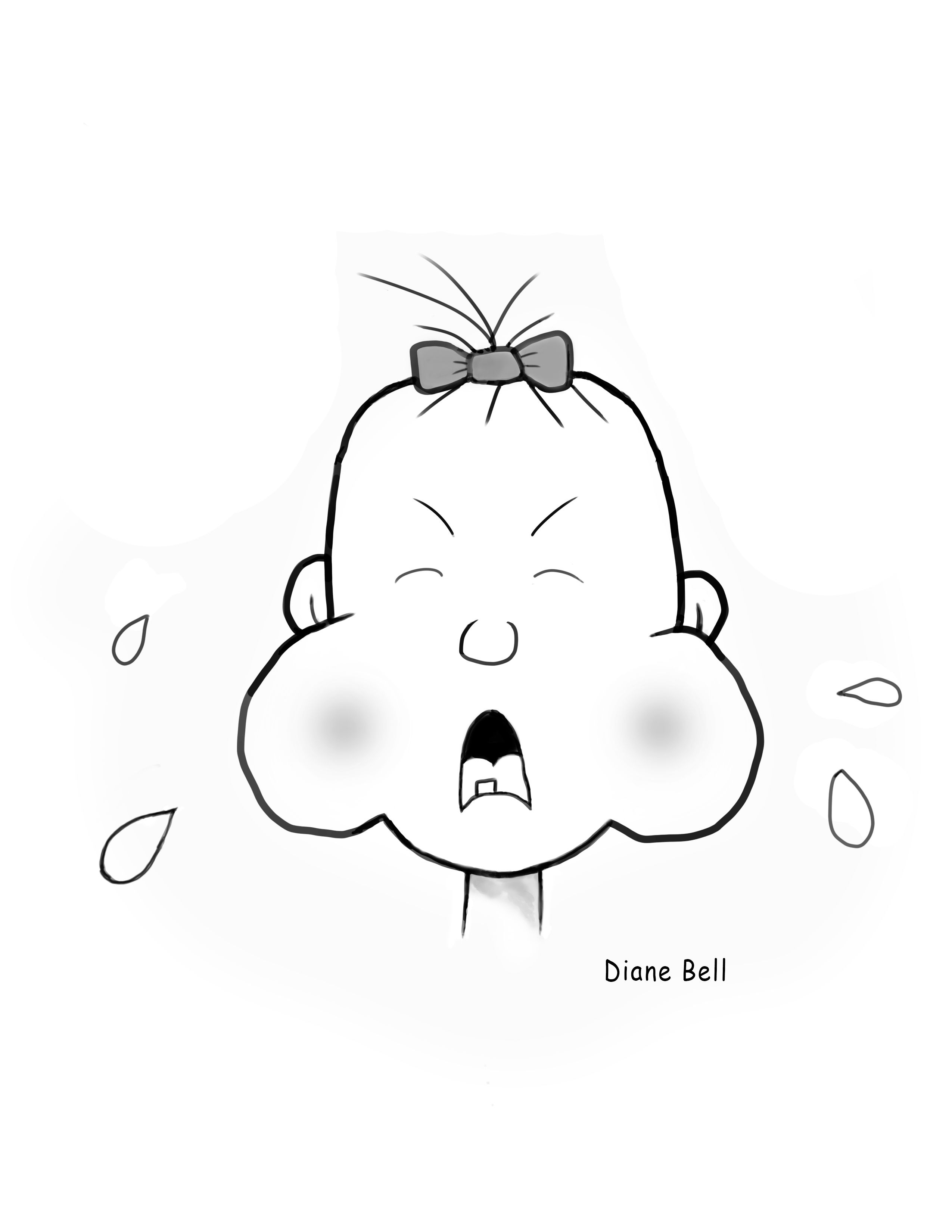 Black And White Drawing Of A Cartoon Baby Crying Funny Cartoon