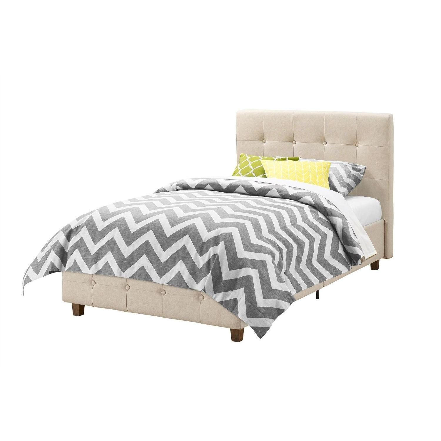 Huntington Beach Upholstered platform bed, Twin size bed