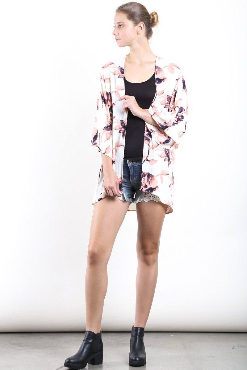 Ivory ghost crepe floral print kimono cardigan w/ open front ...