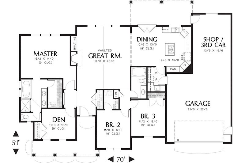 Craftsman Style House Plan - 3 Beds 2 Baths 1873 Sq/Ft Plan ... on ranch house design, one story house plans, ranch house with basement, 8 bedroom ranch house plans, ranch house plans with porches, ranch house layout, texas ranch house plans, 4-bedroom ranch house plans, ranch house plans awesome, ranch country house plans, classic ranch house plans, unique ranch house plans, luxury house plans, loft house plans, rustic ranch house plans, walkout ranch house plans, ranch house with garage, luxury ranch home plans, ranch house kitchens, western ranch house plans,
