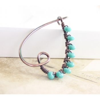 Handmade heart shape shawl or scarf copper pin with wrapped teal color Czech glass beads