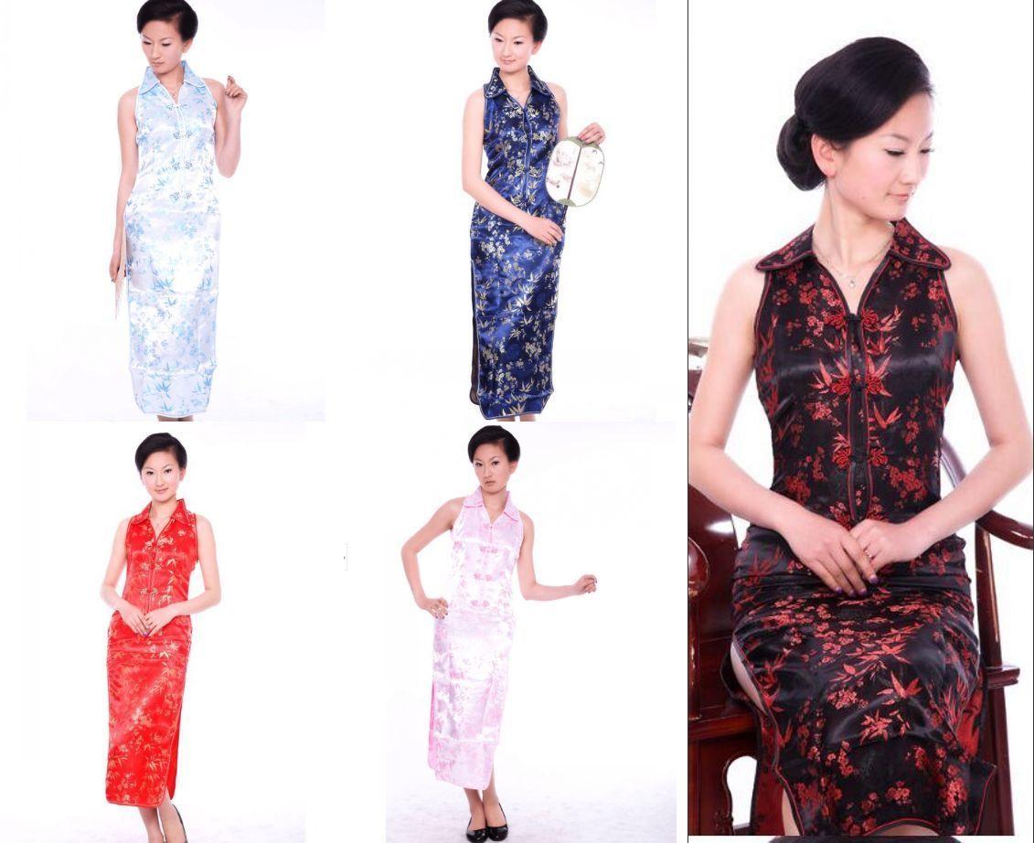 colors chinese womenus silksatin long dress cheongsam sz s m l
