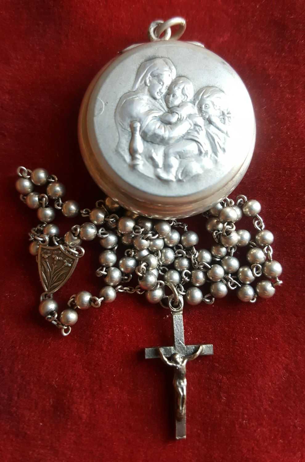 Vintage Spanish Silver Blessed Virgin Mary Rosary Case Locket