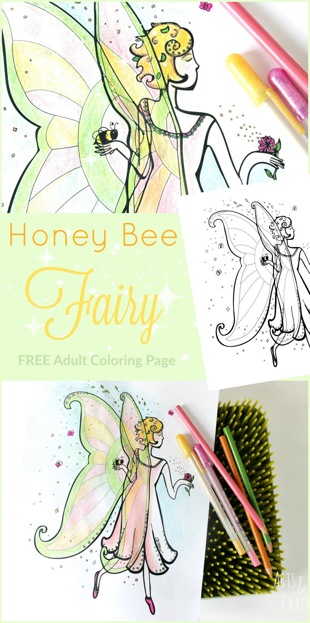 Free whimsical coloring pages for adults - Honey Bee Fairy Adult Coloring Page