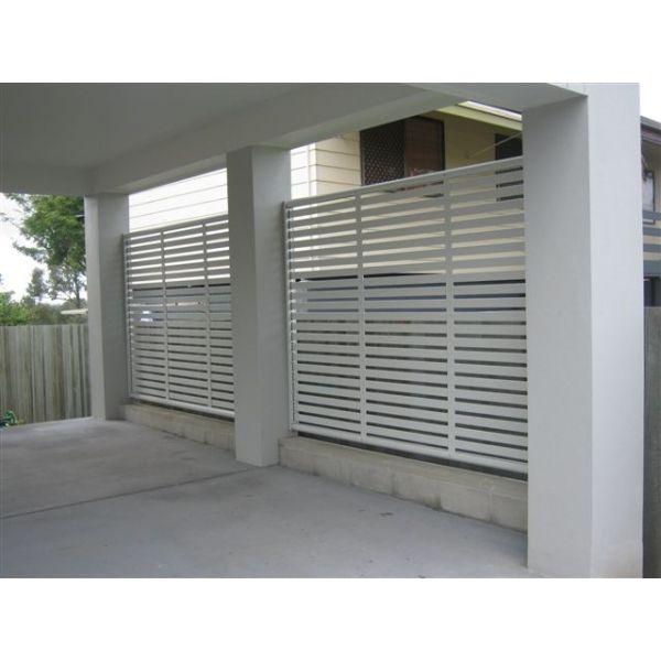 Hip Roof Pergola Over Garage Doors From Atlanta Decking: Clik'n'Fit® COLORBOND® Slat Panel 1800-25 Fence Or Screen