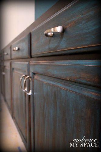 Distressed Furniture Diy, Distressed Black Cabinets Diy